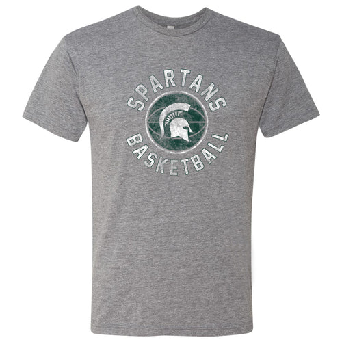 Michigan State University Spartans Basketball Distress Next Level Short Sleeve T Shirt - Premium Heather