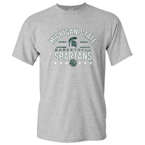Basketball Arch Stars Michigan State Basic Cotton Short Sleeve T Shirt - Sport Grey