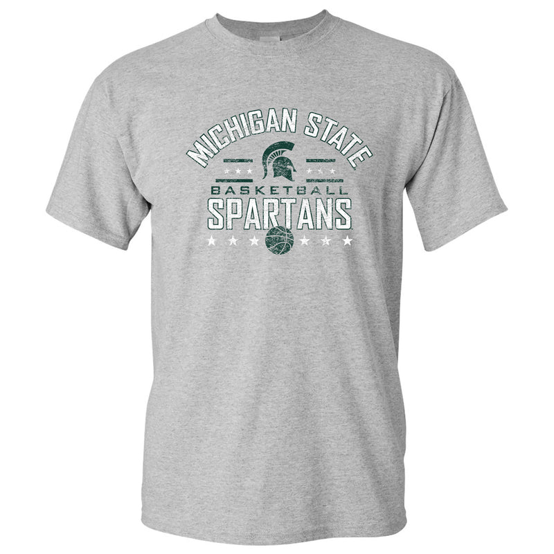Michigan State University Spartans Basketball Arch Stars Basic Cotton Short Sleeve T Shirt - Sport Grey