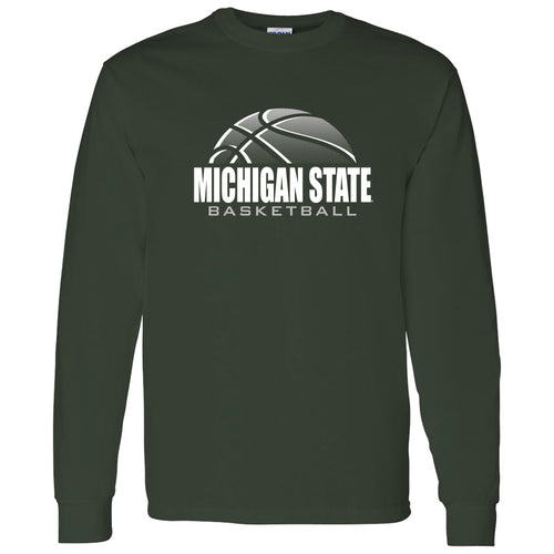 Michigan State University Spartans Basketball Shadow Long Sleeve T Shirt - Forest