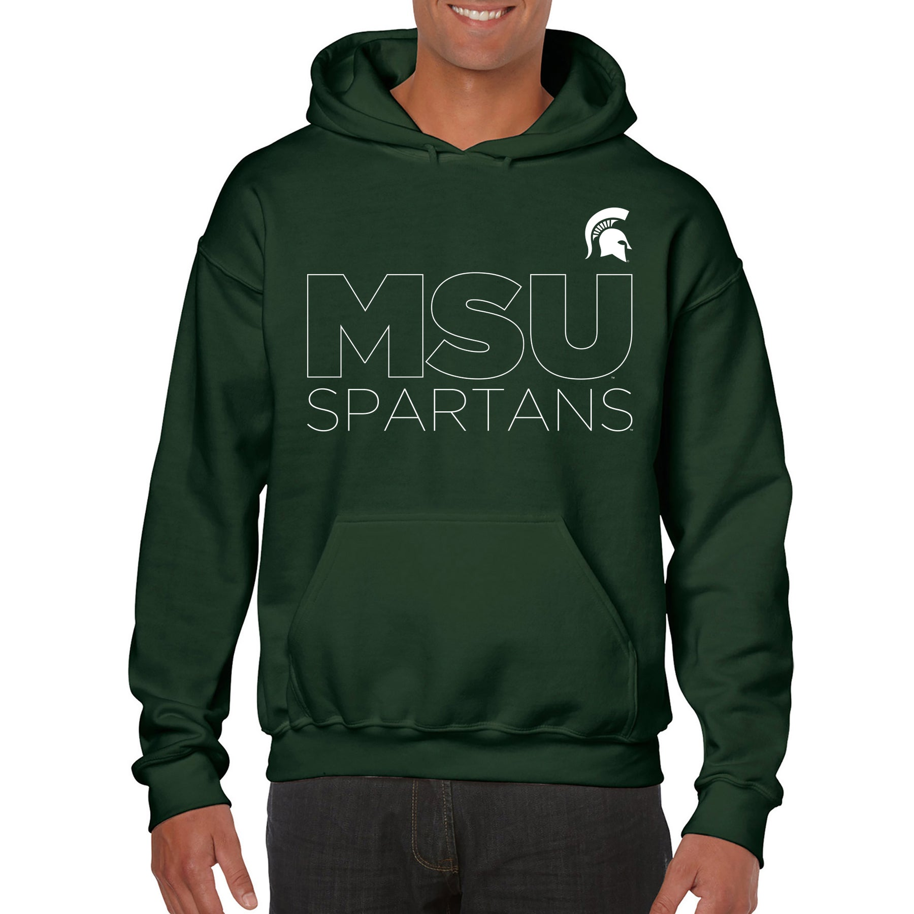Michigan State University Spartans Modern Outline Hoodie Forest