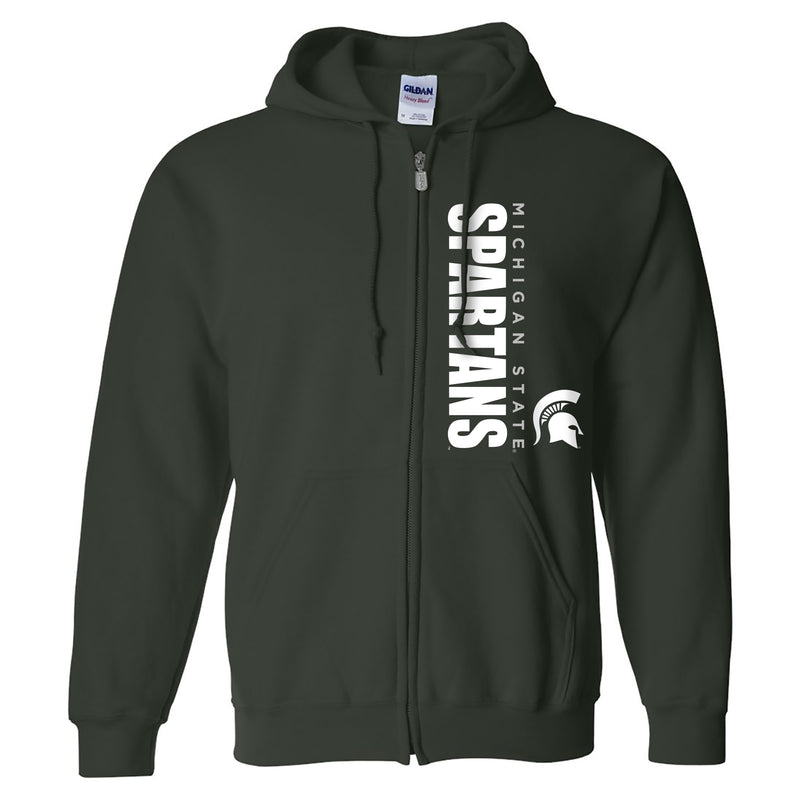 Michigan State University Spartans Vertical Block Left Chest Full-Zip Hoodie - Forest
