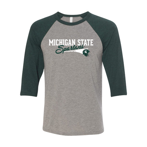 Michigan State University Spartans Varsity Script Helmet Canvas Raglan - Grey/Emerald Triblend