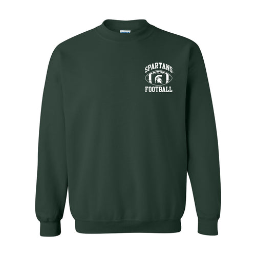 Michigan State University Spartans Classic Football Arch Left Chest Crewneck - Forest