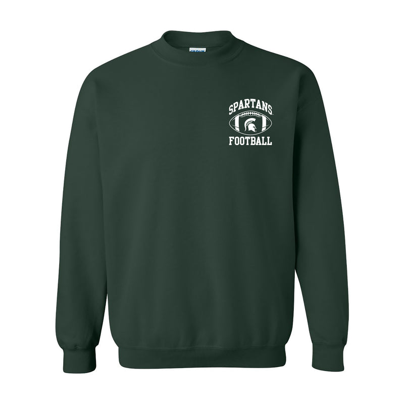 Michigan State University Spartans Classic Football Arch Left Chest Crewneck Sweatshirt - Forest