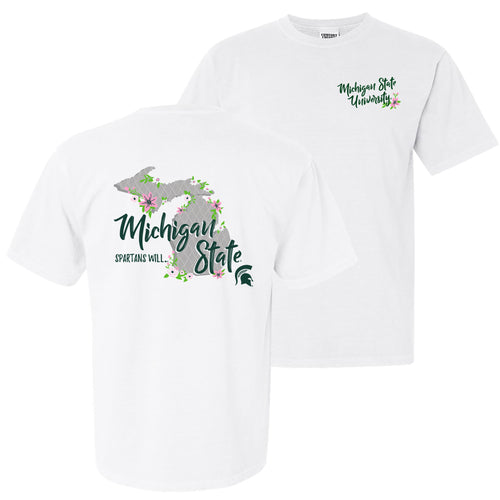 MSU Floral State Garment Dyed T Shirt - White