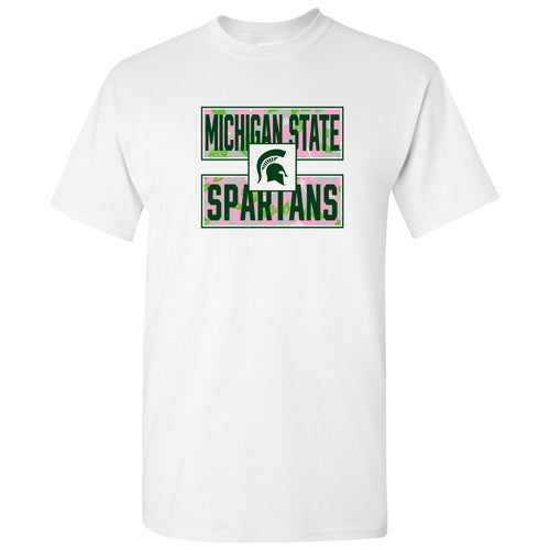 Michigan State University Spartans Hibiscus Pattern Blocks Basic Cotton Short Sleeve T Shirt - White