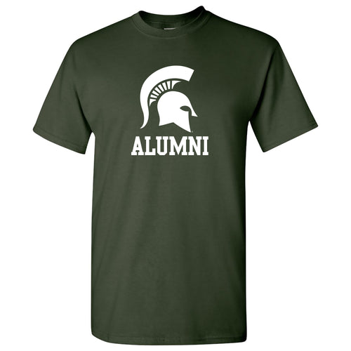 Michigan State University Spartans Primary Logo Alumni Basic Cotton Short Sleeve T Shirt - Forest