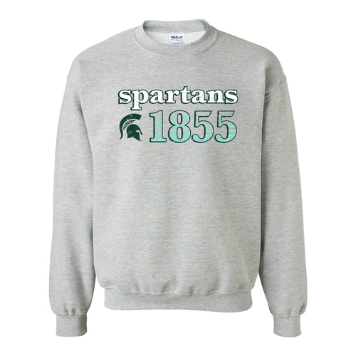 Throwback Year Stripe Michigan State Heavy Blend Crewneck - Sport Grey