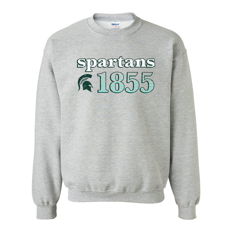 Michigan State University Spartans Throwback Year Stripe Heavy Blend Crewneck - Sport Grey