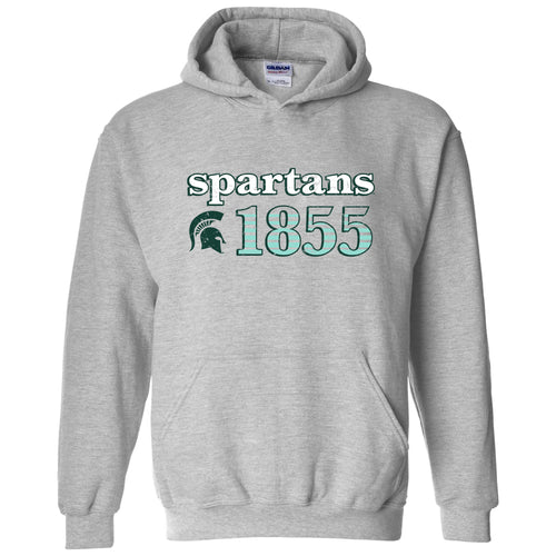 Michigan State University Spartans Throwback Year Stripe Heavy Blend Hoodie - Sport Grey