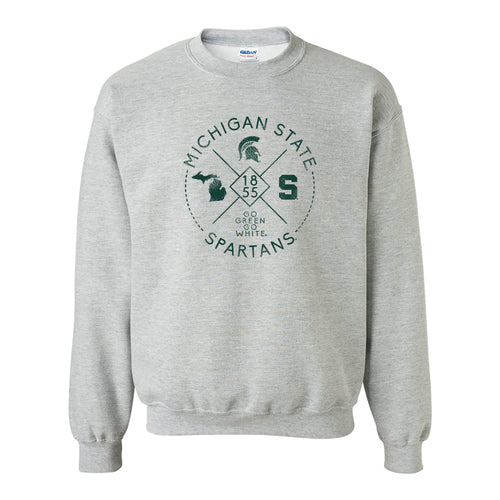 Michigan State University Spartans Identity Stamp Heavy Blend Crewneck - Sport Grey
