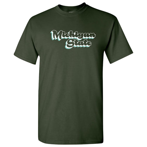 Michigan State University Spartans Retro Bubble Script Short Sleeve T Shirt - Forest