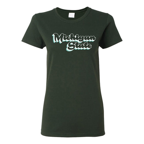 Michigan State University Spartans Retro Bubble Script Womens Short Sleeve T Shirt - Forest