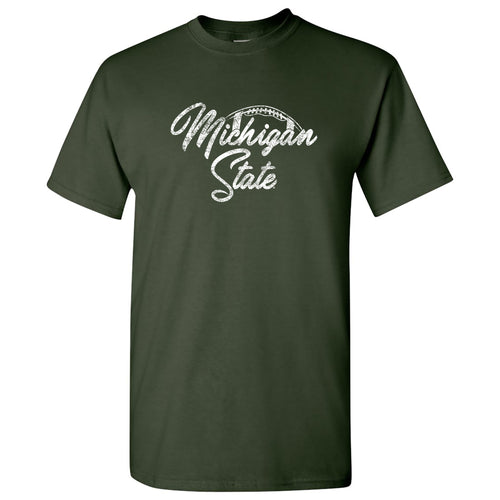 Michigan State University Spartans Football Script Basic Cotton Short Sleeve  T-Shirt - Forest