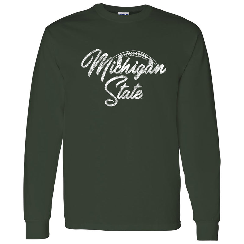 Michigan State University Spartans Football Script Basic Cotton Long Sleeve  T-Shirt - Forest