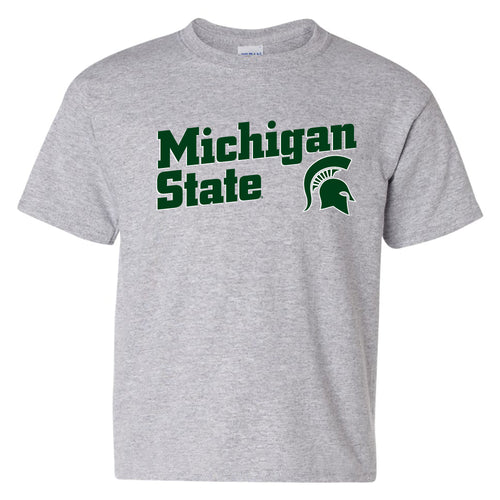 Incline Block Michigan State Spartans Basic Cotton Youth Short Sleeve T-Shirt - Sport Grey