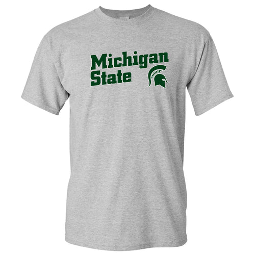 Michigan State University Spartans Incline Block Basic Cotton Short Sleeve T-Shirt - Sport Grey