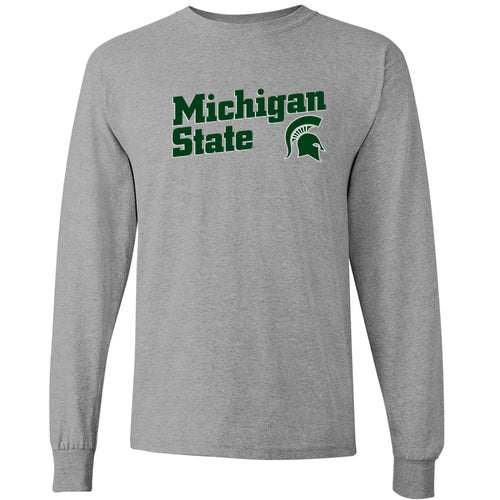 Michigan State University Spartans Incline Block Basic Cotton Long Sleeve T-Shirt - Sport Grey
