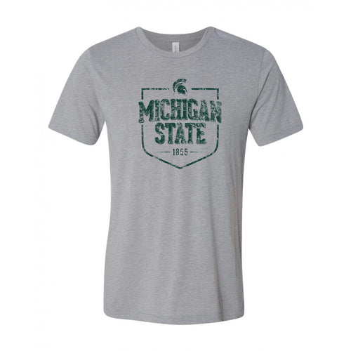 Michigan State University Spartans Timber Shield Canvas Short Sleeve Triblend T-Shirt - Athletic Grey Triblend