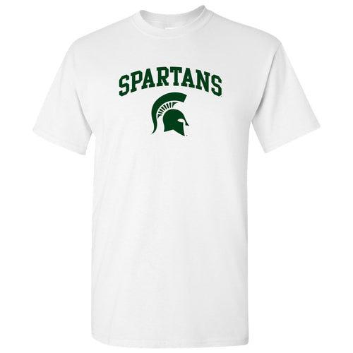 Michigan State University Spartans Mascot Arch Logo Short Sleeve T Shirt - White