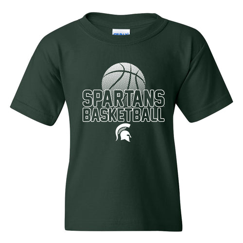 Michigan State University Spartans Basketball Flux Basic Cotton Youth Short Sleeve T Shirt - Forest