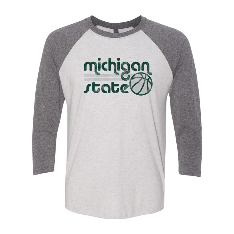 Michigan State University Spartans Basketball Bubble Next Level Raglan T Shirt - Heather White/Premium Heather