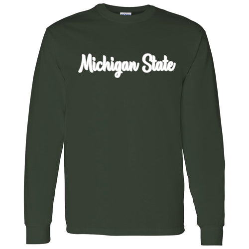 Michigan State University Spartans Basic Script Cotton Long Sleeve T Shirt - Forest