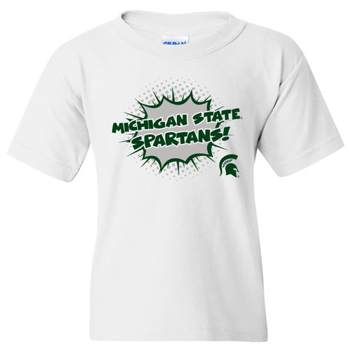 Michigan State Spartans Comic Blast Youth Basic Cotton Short Sleeve Tee - White