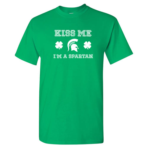 Michigan State University Spartans Kiss Me I'm a Spartan Basic Cotton Short Sleeve T Shirt - Irish Green