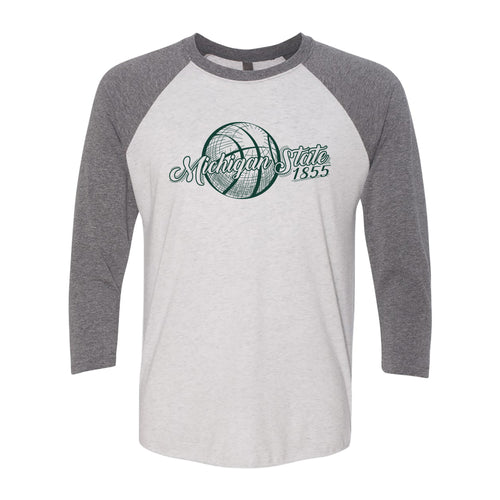Michigan State Basketball Vignette Next Level Raglan T Shirt - Heather White / Premium Heather