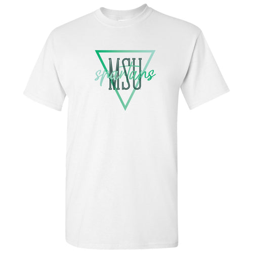Michigan State University Spartans Gradient Triangle Basic Cotton Short Sleeve T Shirt - White