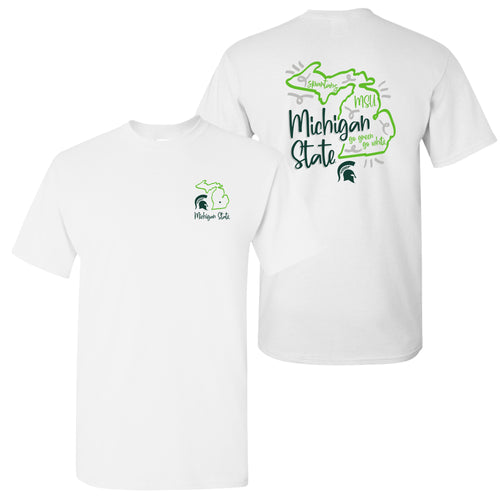 Michigan State University Spartans Playful Sketch Basic Cotton Short Sleeve T Shirt - White