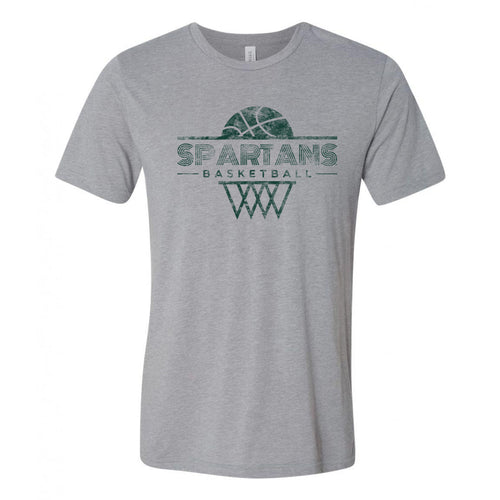 Michigan State University Spartans Oblique Hoop Canvas Triblend Short Sleeve T-Shirt - Athletic Grey