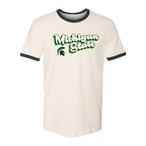 Michigan State University Spartans Groovy Script Logo Ringer T Shirt - Natural/Forest