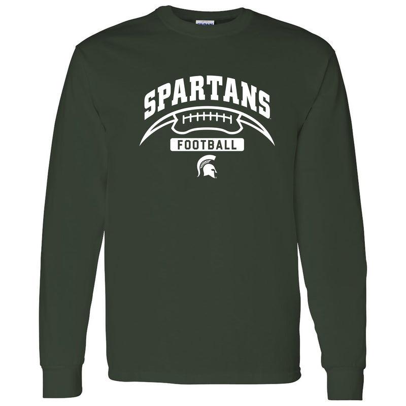 Michigan State University Spartans Football Crescent Long Sleeve T Shirt - Forest