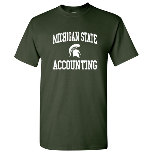 Michigan State University Spartans Arch Logo Accounting Short Sleeve T-Shirt - Forest