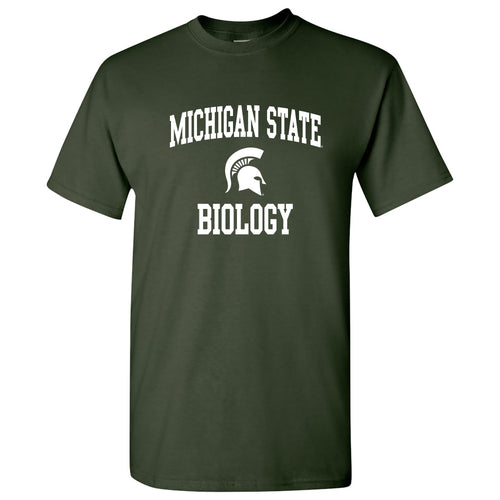 Michigan State University Spartans Arch Logo Biology Short Sleeve T-Shirt - Forest