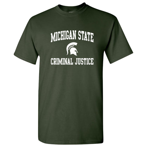 Michigan State Arch Logo Criminal Justice T-Shirt - Forest