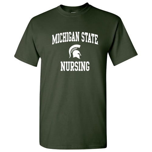 Michigan State University Spartans Arch Logo Nursing Short Sleeve T-Shirt - Forest