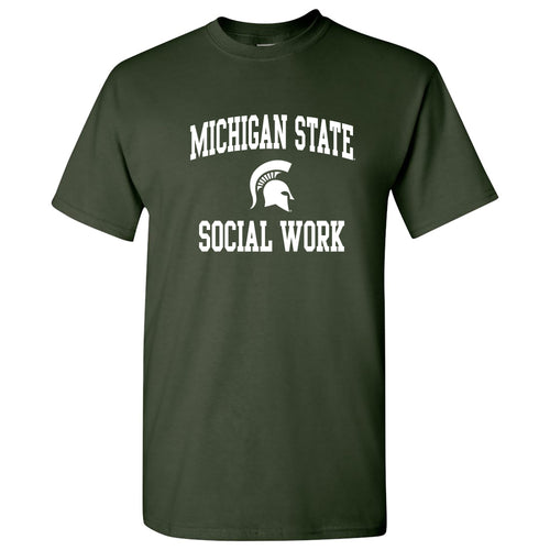 Michigan State University Spartans Arch Logo Social Work Short Sleeve T-Shirt - Forest