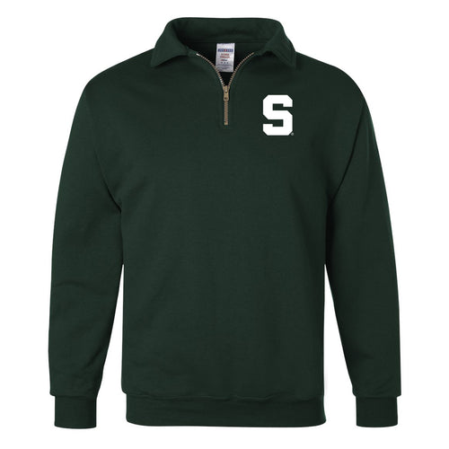 Michigan State University Spartans Block S  Jerzees Quarter Zip Pullover - Forest Green