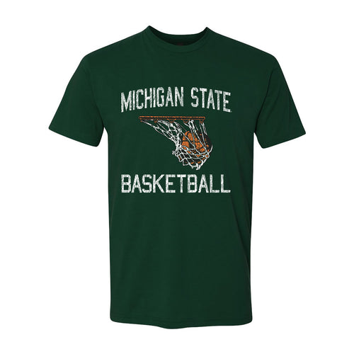 Michigan State University Spartans Retro Faded Basketball Next Level Short Sleeve T Shirt- Forest Green