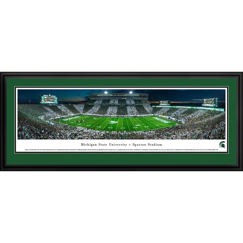 Michigan State University Spartans Football Spartan Stadium Stripe Panorama - Deluxe Frame