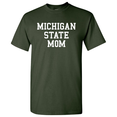Michigan State University Spartans Basic Block Mom Next Level Short Sleeve T Shirt - Forest Green
