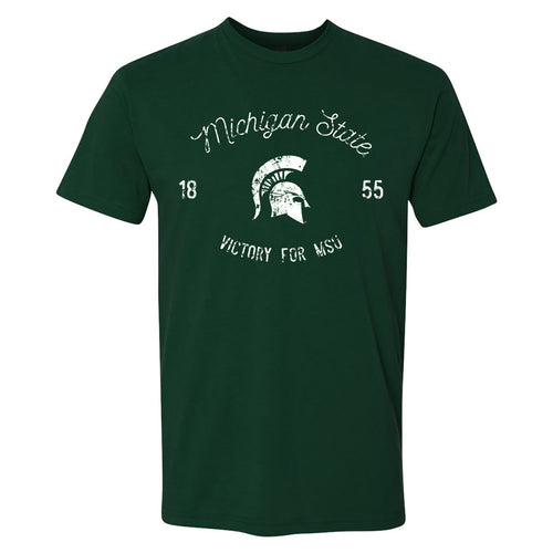 Michigan State University Spartans Vintage Script Next Level Short Sleeve - Forest