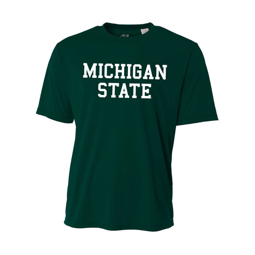 Michigan State University Spartans Basic Block A4 Performance Short Sleeve T Shirt - Forest