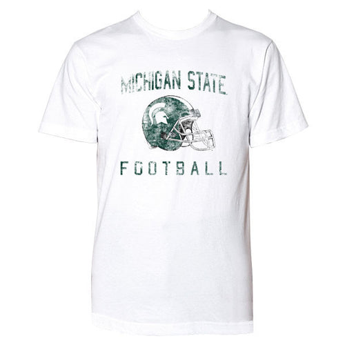 Michigan State University Spartans Faded Helmet American Apparel Short Sleeve T Shirt - White
