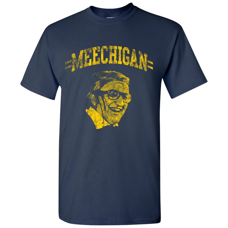 MEECHIGAN University of Michigan Basic Cotton Short Sleeve T Shirt - Navy