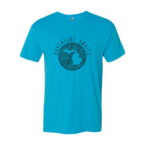 Adventure Awaits MI Tribal Triblend Tee - Vintage Turquoise